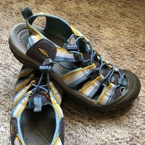 Keen waterproof sandals hiking blue yellow shoes